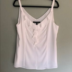 EUC WHBM ivory camisole with ruffle front